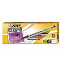 BIC XTRA LIFE MECHANICAL PENCIL CLEAR BARREL .7MM BLACK 12X